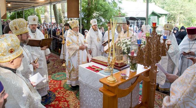 Впервые в Спасо-Преображенской Пустыни совершена Божественная литургия тремя Архипастырями Латвийской Православной Церкви