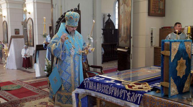 Всенощное бдение в Борисо-Глебском соборе в канун празднования Успения Пресвятой Богородицы