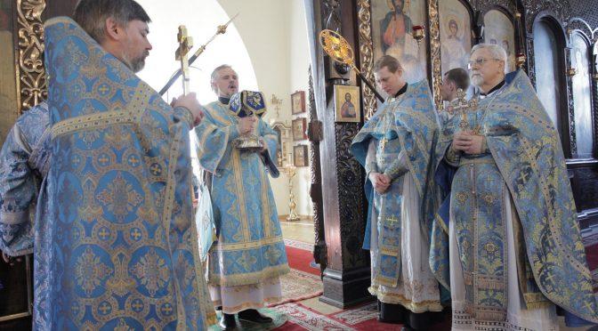 Богослужение в праздник Благовещения в Борисо-Глебском соборе