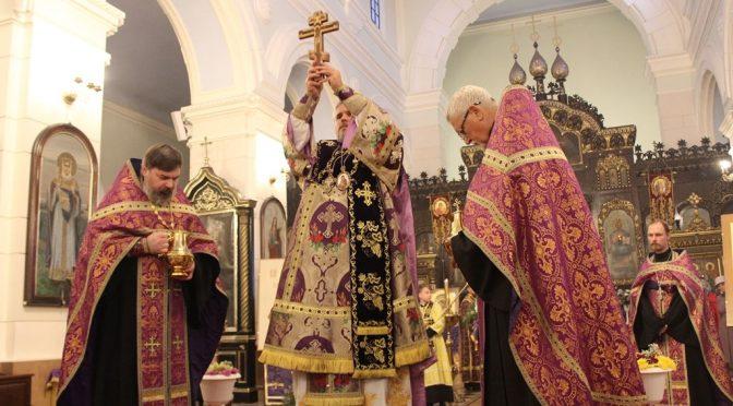 Всенощное бдение и чин Воздвижения Креста в Борисо-Глебском соборе