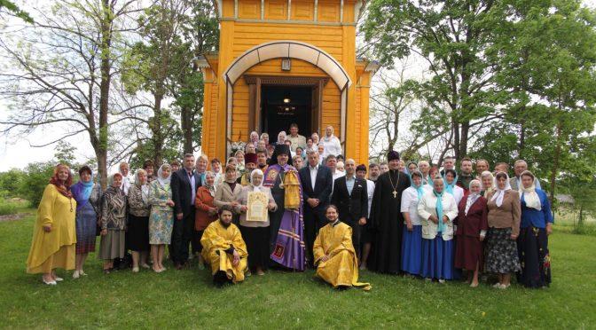 Литургия в Никольском храме посёлка Риебини