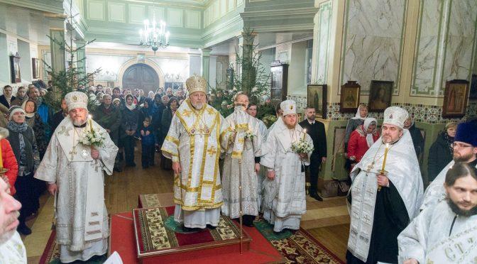 Архиерейская всенощная Рождества Христова в латышском православном приходе Риги