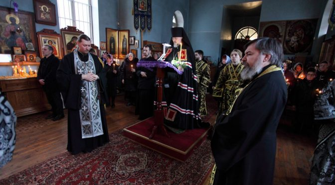 Чтение канона Андрея Критского в Успенском храме г. Даугавпилс