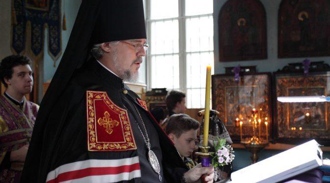 Епископ Александр продолжил чтение Великого покаянного канона в Свято-Успенском храме города Даугавпилс