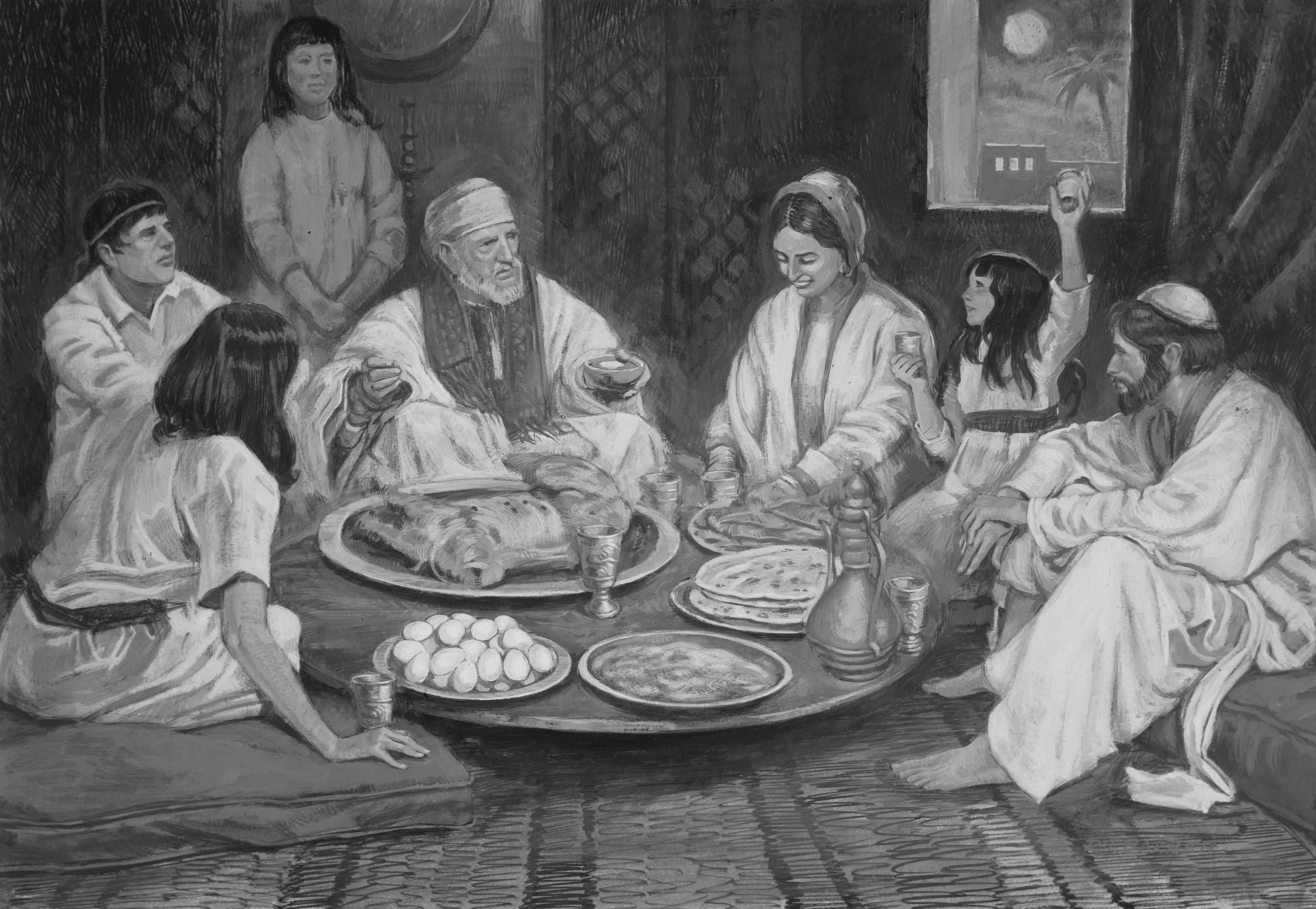 Иудейская семья за пасхальной трапезой